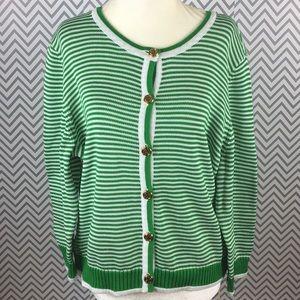 Lily Pulitzer green white striped cotton cardigan